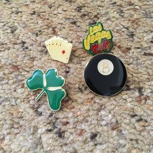 Jewelry - Set of 4 enamel Las Vegas good luck pins